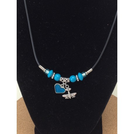 Airplane Colored Heart Necklace
